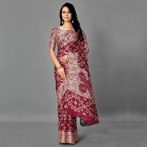 Radiant Grey - Maroon Colored Casual Wear Printed Art Silk Saree