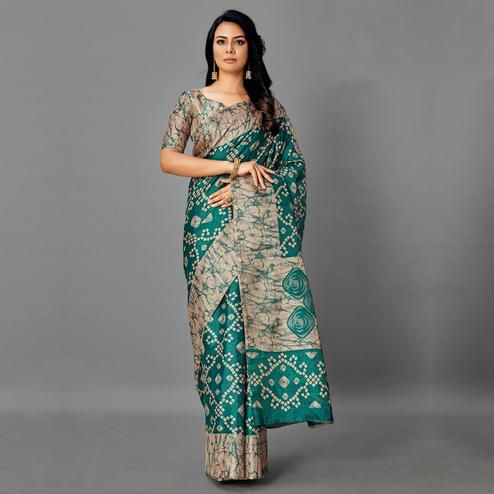 Opulent Grey - Dark Green Colored Casual Wear Printed Art Silk Saree