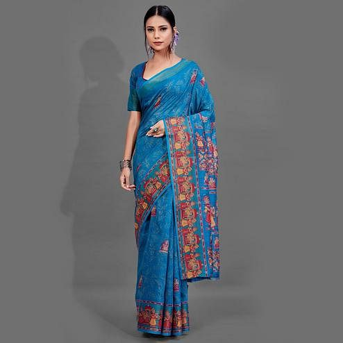 Gleaming Blue Colored Casual Wear Printed Cotton Saree