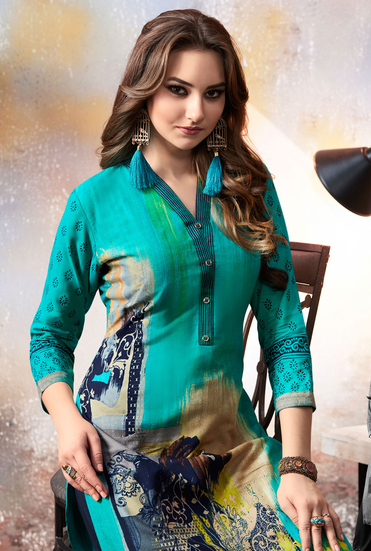 Beautiful Teal Blue Designer Embroidered & Printed Rayon Palazzo Suit