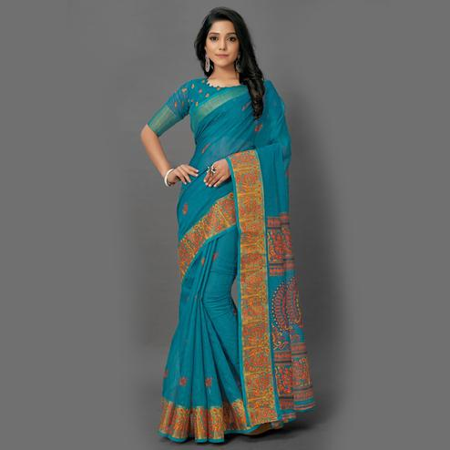 Magnetic Blue Colored Casual Wear Printed Cotton Saree