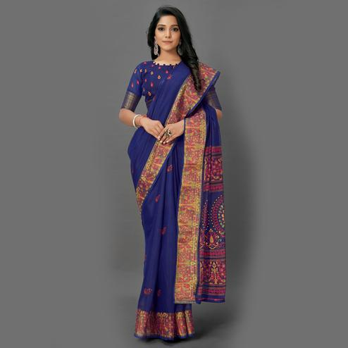 Flattering Navy Blue Colored Casual Wear Printed Cotton Saree
