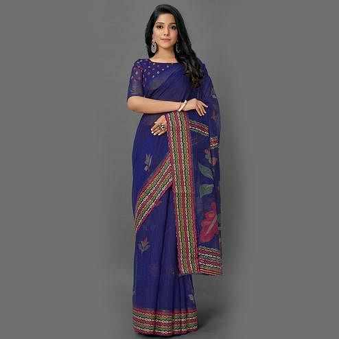 Preferable Navy Blue Colored Casual Wear Printed Cotton Saree