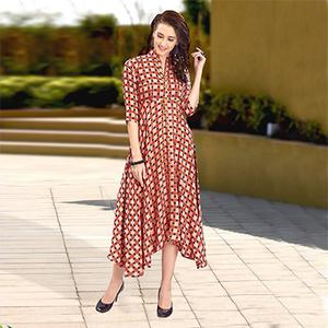 Beautiful Peach-Red Colored Designer Partywear Digital Printed Heavy Rayon Kurti