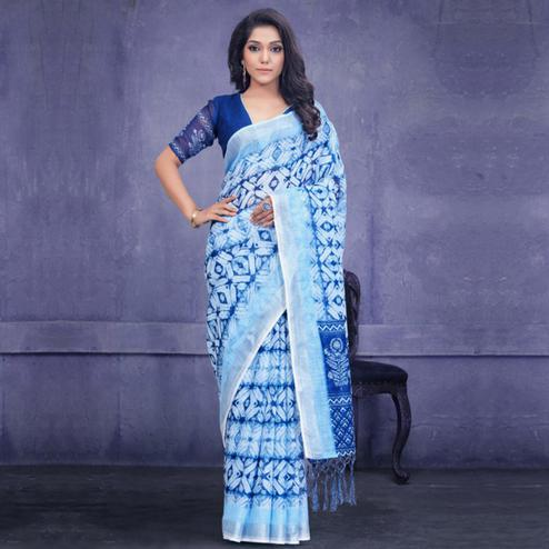 Flirty Blue Colored Casual Wear Printed Pure Linen Saree