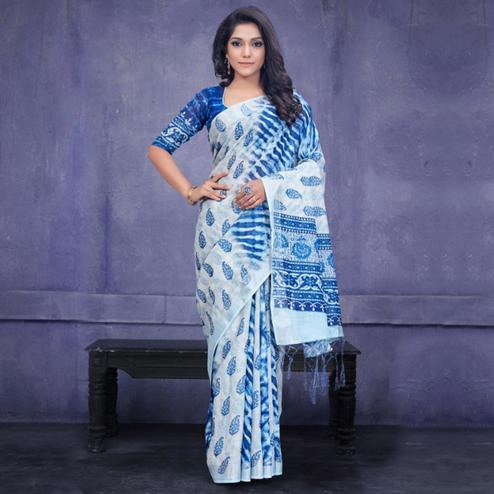 Prominent Blue Colored Casual Wear Printed Pure Linen Saree