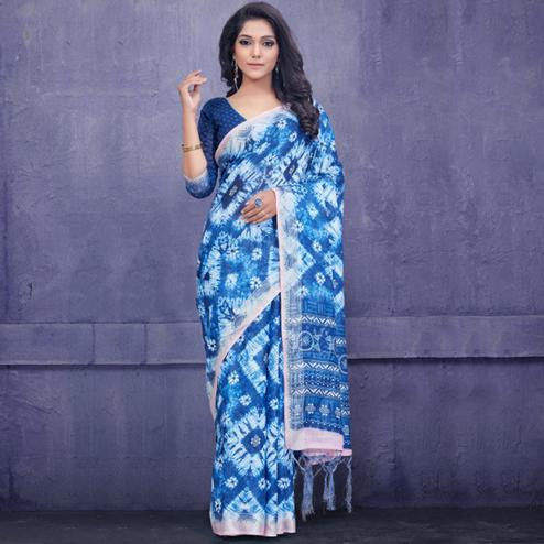 Appealing Blue Colored Casual Wear Printed Pure Linen Saree