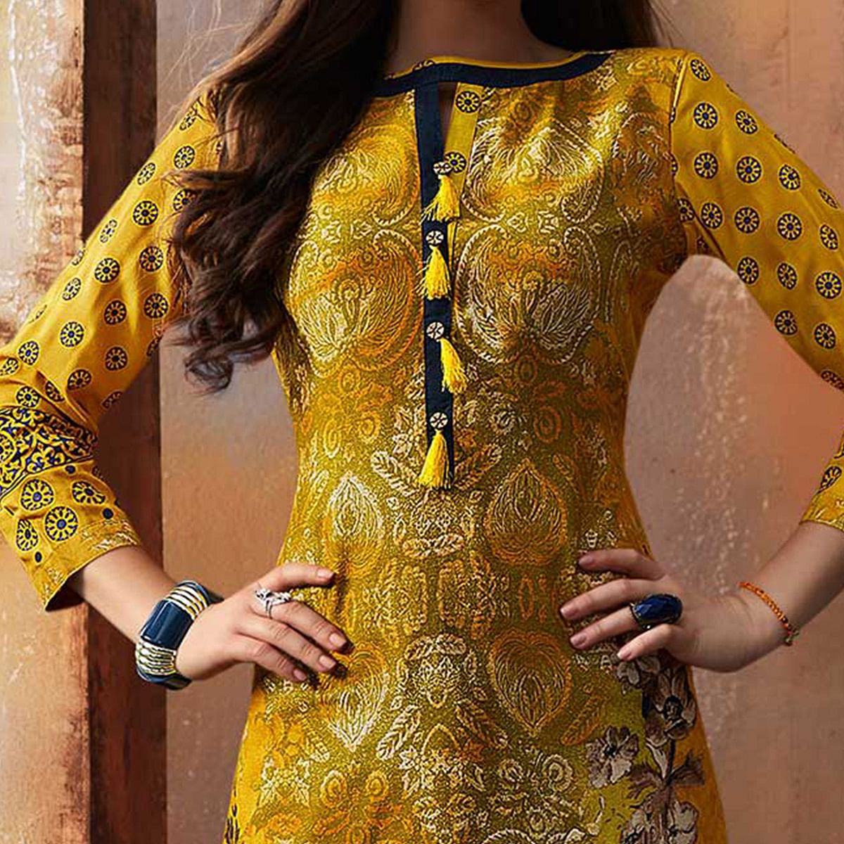 Desirable Yellow Designer Embroidered & Printed Rayon Palazzo Suit