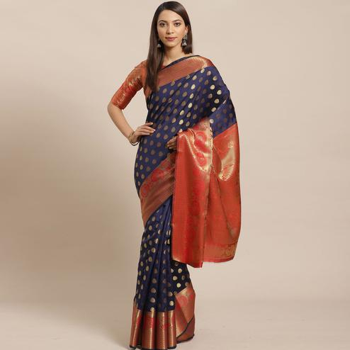 Entrancing Navy Blue - Red Colored Festive Wear Woven Silk Blend Saree