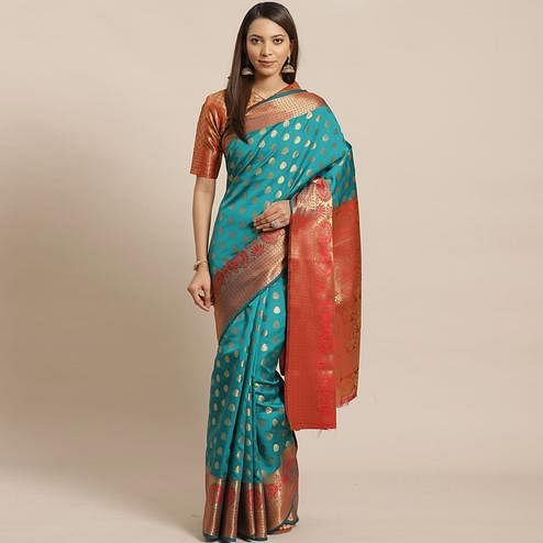 Groovy Teal Green - Red Colored Festive Wear Woven Silk Blend Saree