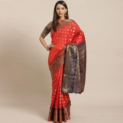 Adorning Red - Black Colored Festive Wear Woven Silk Blend Saree