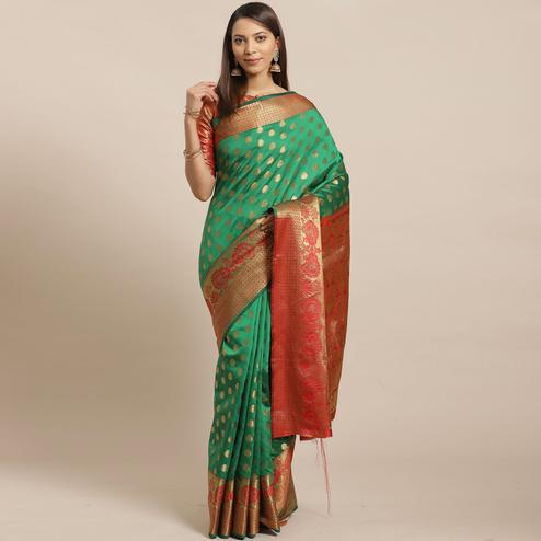 Exclusive Green - Red Colored Festive Wear Woven Silk Blend Saree