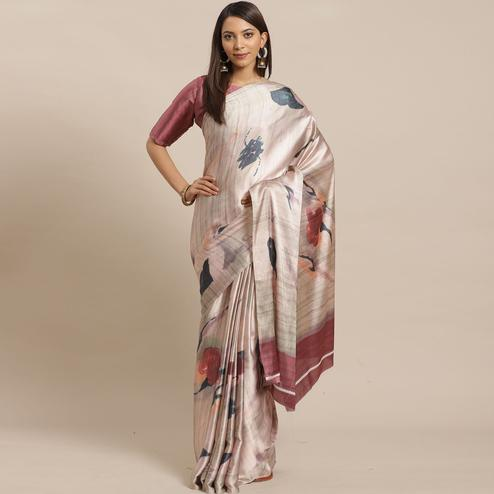 Adorable Beige Colored Casual Wear Printed Satin Crepe Saree