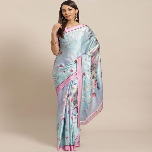 Glorious Sky Blue Colored Casual Wear Printed Satin Crepe Saree
