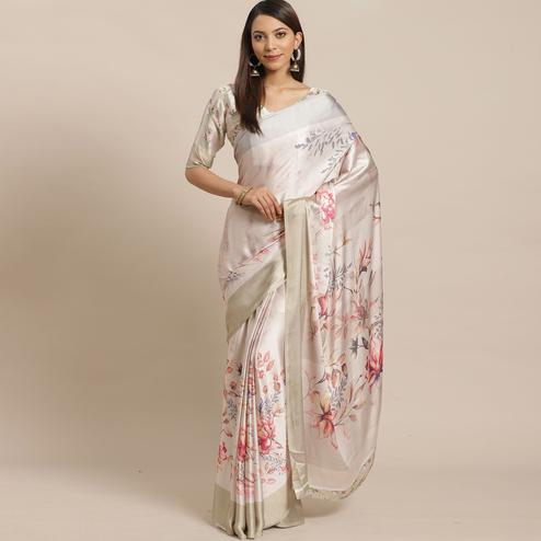 Attractive Beige Colored Casual Wear Printed Satin Crepe Saree