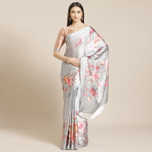 Graceful Grey Colored Casual Wear Printed Satin Crepe Saree