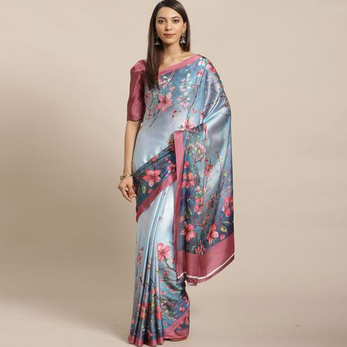 Blooming Blue Colored Casual Wear Printed Satin Crepe Saree