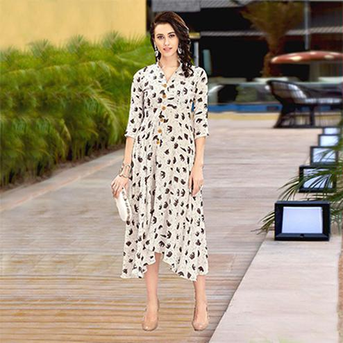 Graceful White Designer Partywear Digital Printed Heavy Rayon Kurti