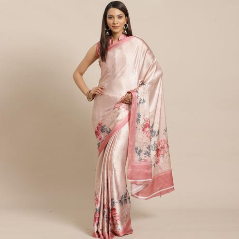Charming Beige Colored Casual Wear Printed Satin Crepe Saree