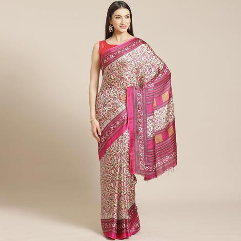 Jazzy Beige - Magenta Colored Casual Wear Printed Silk blend Saree