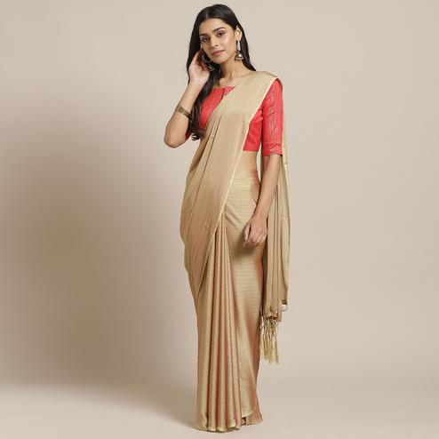 Captivating Beige Colored Casual Wear Printed Poly Georgette Saree