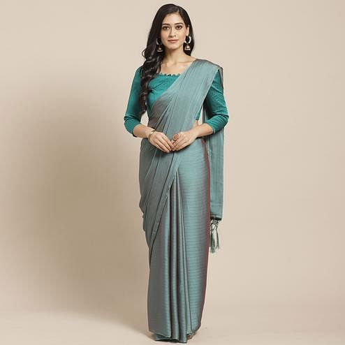 Innovative Green Colored Casual Wear Printed Poly Georgette Saree
