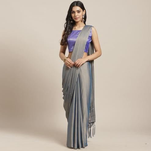 Eye-catching Grey Colored Casual Wear Printed Poly Georgette Saree