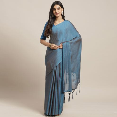 Fantastic Teal Blue Colored Casual Wear Printed Poly Georgette Saree