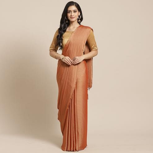 Amazing Brown Colored Casual Wear Printed Poly Georgette Saree