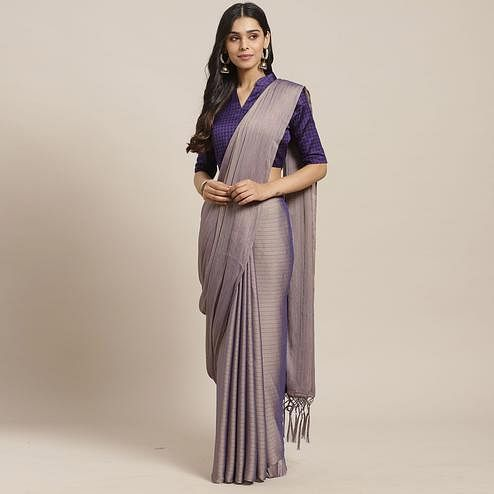 Gorgeous Purple Colored Casual Wear Printed Poly Georgette Saree