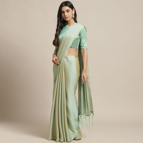 Ideal Olive Colored Casual Wear Printed Poly Georgette Saree