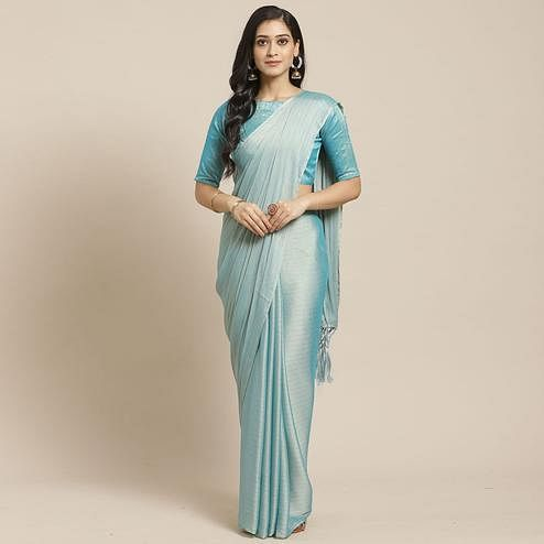 Lovely Sky Blue Colored Casual Wear Printed Poly Georgette Saree