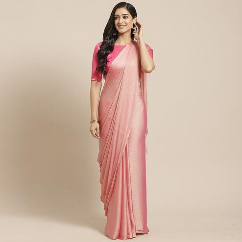 Mesmerising Light Pink Colored Casual Wear Printed Poly Georgette Saree