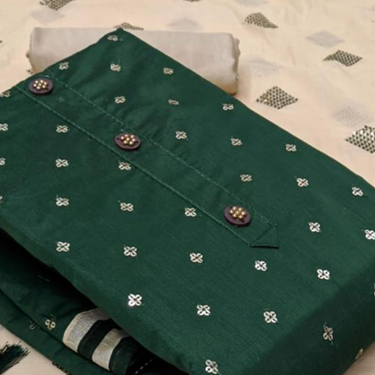 Ravishing Green Colored Partywear Modal Chanderi Dress Material