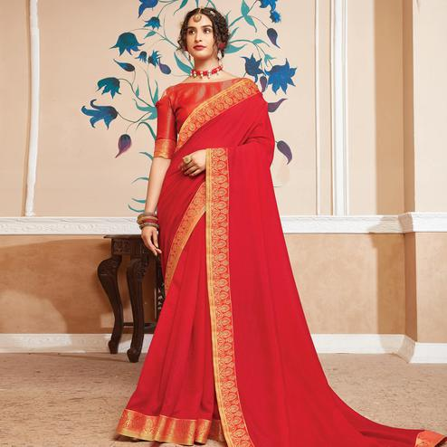 Jazzy Red Colored Festive Wear Woven Vichitra Silk Saree
