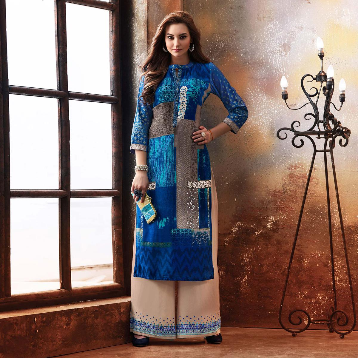 Dazzling Blue Designer Embroidered & Printed Rayon Palazzo Suit