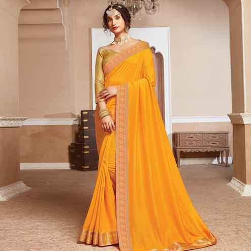 Engrossing Yellow Colored Festive Wear Woven Vichitra Silk Saree