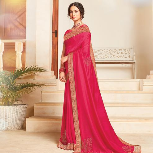 Captivating Pink Colored Festive Wear Woven Vichitra Silk Saree