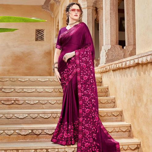 Ideal Wine Colored Festive Wear Woven Silk Saree