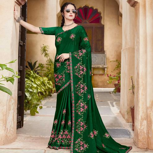 Lovely Green Colored Festive Wear Woven Silk Saree