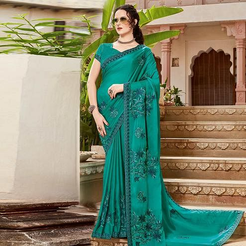 Majesty Turquoise Blue Colored Festive Wear Woven Silk Saree