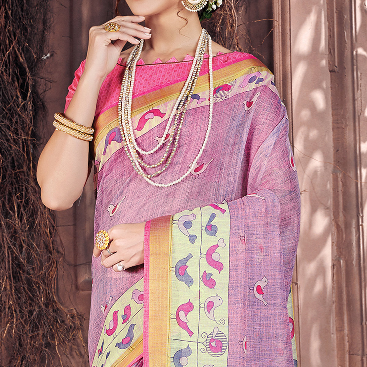 Breathtaking Light Pink Colored Casual Wear Printed Cotton Saree