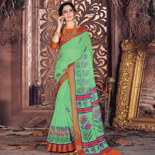 Dazzling Green Colored Casual Wear Printed Cotton Saree