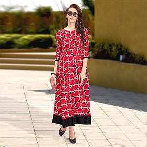 Ravishing Red Designer Partywear Digital Printed Heavy Rayon Kurti