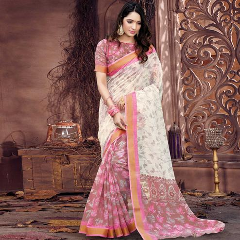 Surpassing Offwhite - Brown Colored Casual Wear Printed Cotton Saree