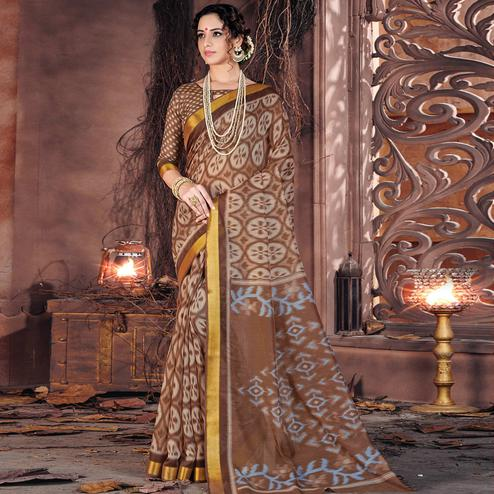 Intricate Brown Colored Casual Wear Printed Cotton Saree