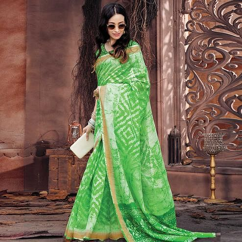 Arresting Green Colored Casual Wear Printed Cotton Saree