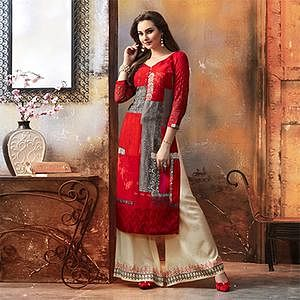 Sizzling Red Designer Embroidered & Printed Rayon Palazzo Suit