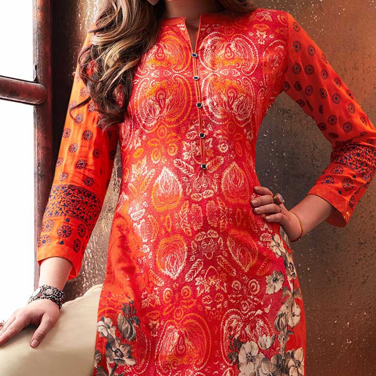 Graceful Orange Designer Embroidered & Printed Rayon Palazzo Suit