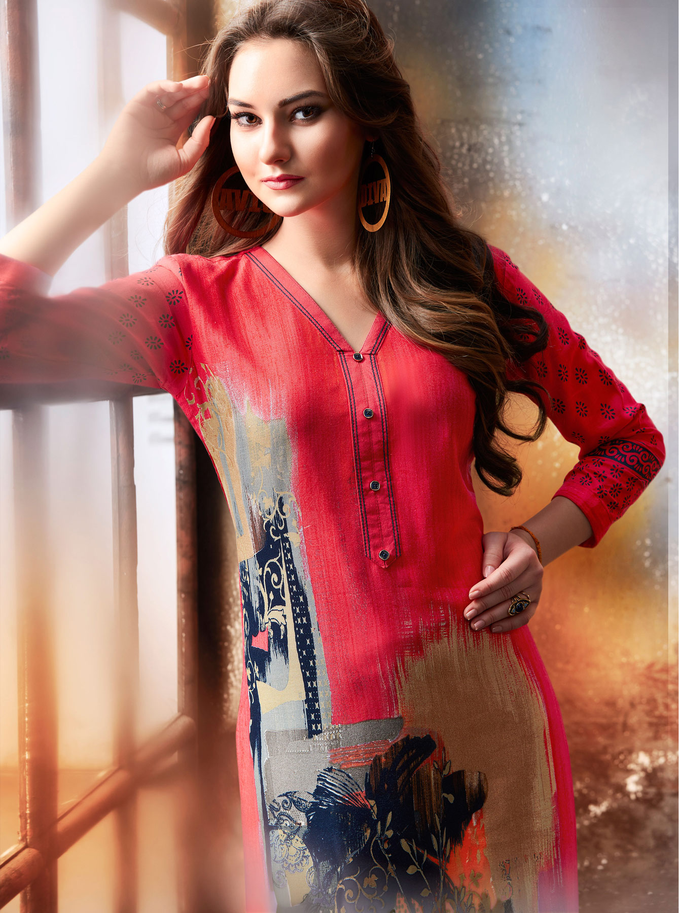 Stunning Red Designer Embroidered & Printed Rayon Palazzo Suit